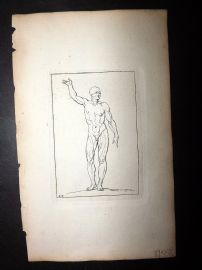 Sayer Compleat Drawing-Book 1757 Antique Print. Study of Body 44 Nudes